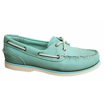Timberland EK Amherst 2 Eye Light Blue Leather Womens Boat Shoes 8339B B27C