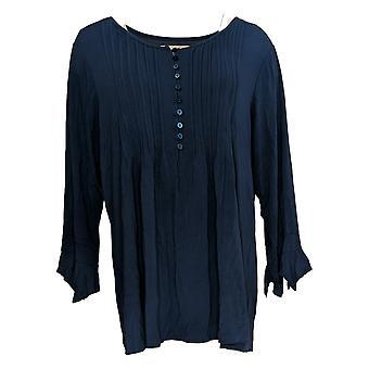 Laurie Felt Women's Top Knit Ruffle Sleeve Henley Blue A309502