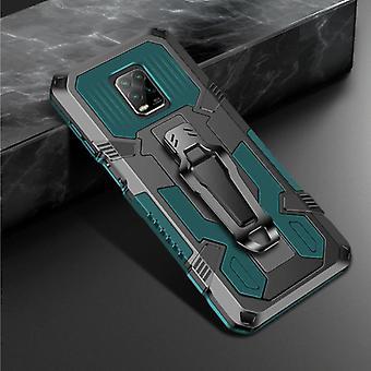 Funda Xiaomi Redmi Note 9 Pro Case - Magnetic Shockproof Case Cover Cas TPU Green + Kickstand