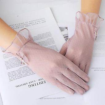 Summer Women Uv Sunscreen Pearl Flowers Gloves, Thin Ice Silk Lace, Touch