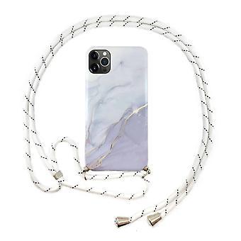 FONU Marmer Backcase Hoesje Met Koord iPhone 12 / 12 Pro - Roze Marmer