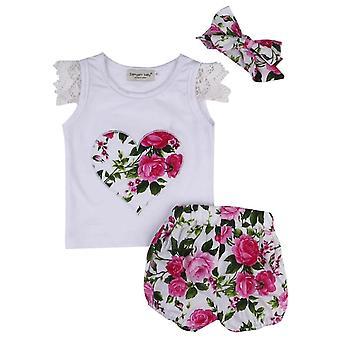 Vauva tytöt kukka top, bloomers ja otsapanta asu