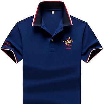 Summer Men Polo Shirt, Synthetic Fiber, Lapel Short Sleeve, Embroidered Casual