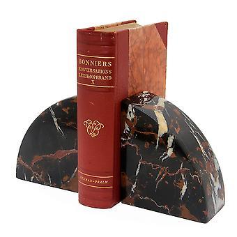 Spura Home Cerasus Collection Vintage Musta & Kulta Pari Marmori Bookends