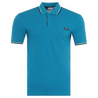 Napapijri Taly Stripe Organic Cotton Polo Shirt - Mykonos Blue