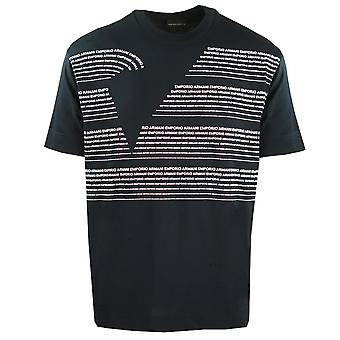 Emporio Armani Large Lettering Logo Navy T-Shirt
