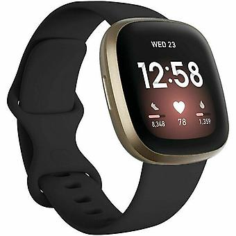 """voor Fitbit Versa 3 / Sense Replacement Strap Silicone Band Bracelet Wrist[Small Fits Wrist 5.5"""" - 6.9"""",Black]"""