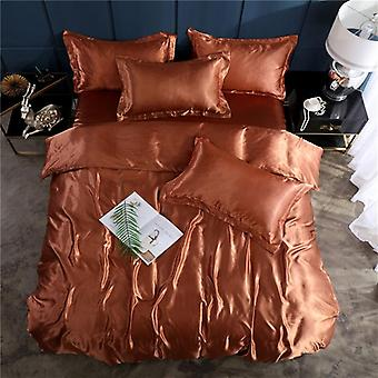 Soft Smooth Satin Silk Bedding Set, Luxury Solid Color Bed Sheet, Quilt Duvet