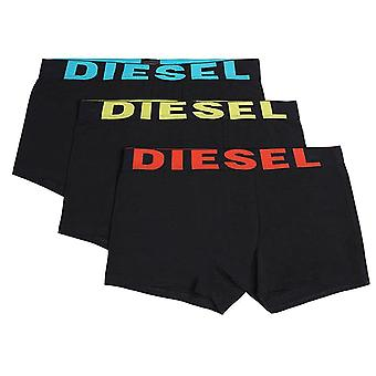 DIESEL 3-Pack Boxer Trunk UMBX-Shawn, Black With Blue/Yellow/Orange, Small
