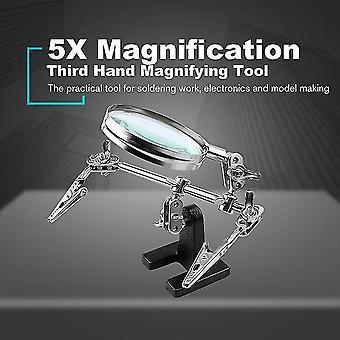 5x溶接拡大鏡2アリゲータークリップ360度回転調整可能な第三手工具はんだ付けスタンドを支援