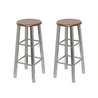 vidaXL bar stool 2 pcs. metal with MDF seat