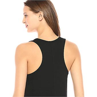 Tägliche Ritual Frauen's Jersey ärmellose Racerback Swing Kleid, schwarz/weiß Streifen, groß