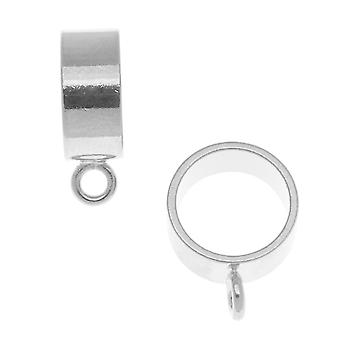 Cauzione cursore rotondo grande placcato argento - si adatta fino a 11,5 mm di cavo (2 pezzi)