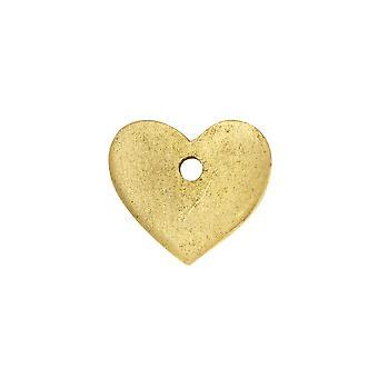 Final Sale - Flat Tag Pendant, Mini Heart 11mm, Antiqued Gold, 1 Piece, by Nunn Design