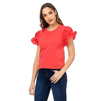 T-shirt with elastic puffed sleeves