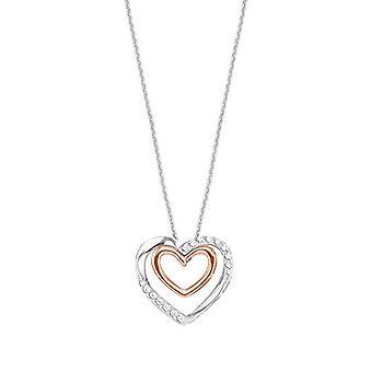 Amor Damen Halskette mit herzförmigen Anhänger, 925 Silber vergoldet, mit weißen Zirkonen(2)