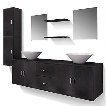 vidaXL 9 kpl. Kylpyhuoneen huonekalut ja pesuallassarja Musta