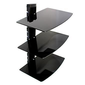 Tempered Black Glass Floating Shelf | M&W 3 Tier