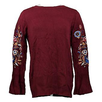 Belle af Kim Grus Kvinders Sweater Floral Bell Sleeve Red A343351
