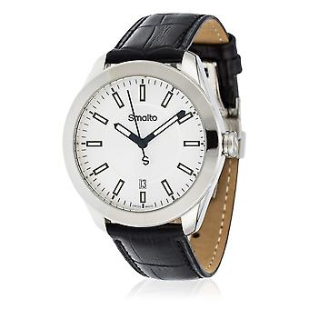 Montre Homme Smalto TEMPORAL cadran argenté - bracelet cuir - 42 mm