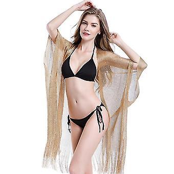 Bikini Loose Blouse European And American Seaside Gold Silk Woven Sunscreen Clothing(Gold)