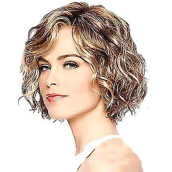Fashion Lady Short Curly Hair Wig Fluffy Mixed Color Short Curly Hair