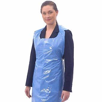 Pack of 100 Disposable Aprons Waterproof Polythene Blue | Salon Microblading PMU - 100 / gb