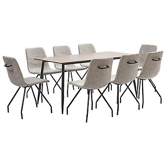 vidaXL 9 pcs. Dining group grey faux leather