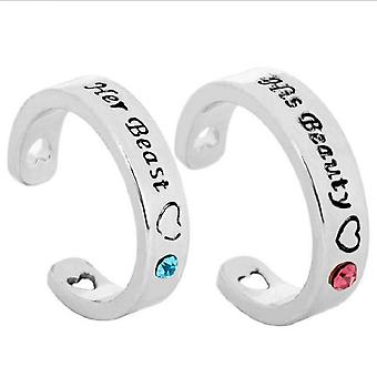 2pcs Beauty And The Beast Ring Diamond Inlaid Alloy Finger Ring For Lovers