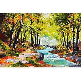 Tapeta Mural Rzeka w jesiennym lesie