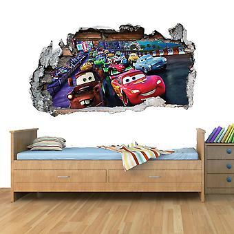 車の飛行機レーススマッシュウォールアートビニールデカールステッカーホーム装飾子ベッドルーム