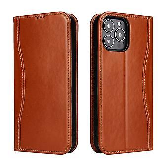 Til iPhone 13 Pro Max Sag Brown Fierre Shann Ægte Cowhide Læder Cover
