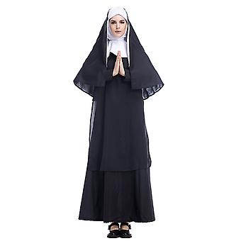 Women's Nun Costume Fancy Dress Cosplay Halloween Party Outfit Cosplay Costume Set
