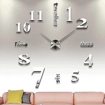 Moderne Mute Diy Rammeløs Stor Vegg klokke Hjemmekontor Dekorasjoner