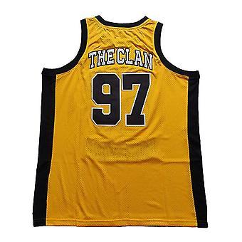 Hommes 97 # Wu Tang Forever Yellow Basketball Jersey Cousu 90s Hip Hop Vêtements pour la fête