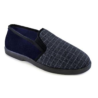 SlumberzzZ Mens Check Design Fleece Lined Closed Slippers