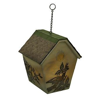 Elegant Rustic LED Hanging Birdhouse Accent Lamp