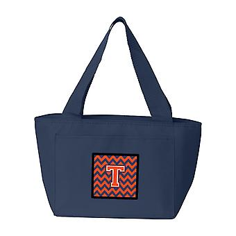Carolines Treasures  CJ1042-TNA-8808 Letter T Chevron Orange and Blue Lunch Bag