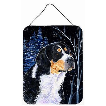 طباعة ليلة النجوم بيرن الجبلية الكلب الألومنيوم المعدنية الجدار أو الباب معلقة