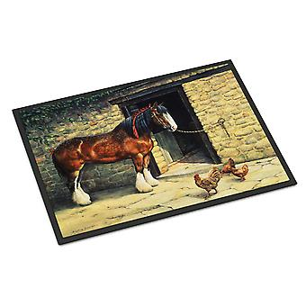 Horse and Chickens by Daphne Baxter Indoor or Outdoor Mat 18x27