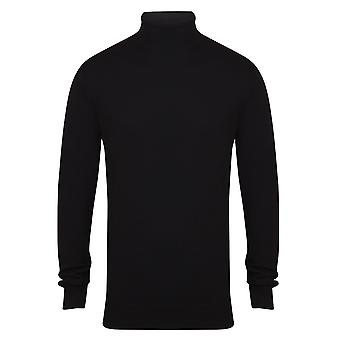 Henbury Mens stickad rulle hals Jumper