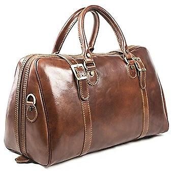 Genuine Italian Leather Travel Bag Hand Luggage Holdall Weekend Overnight Brown Unisex (small carry on, Brown)