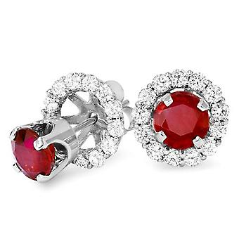 1 1/2ct Ruby Studs & Diamond Earring Jackets Solid 14K White Gold