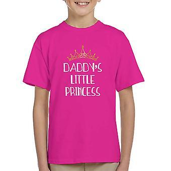 Daddys Little Princess vit teckensnitt guld Tiara Kid's T-Shirt