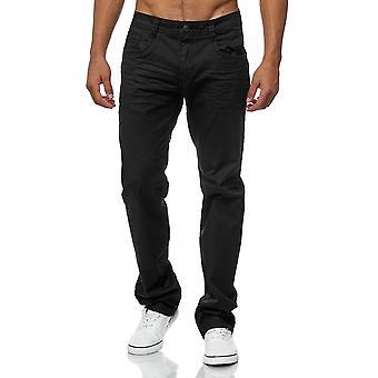 Men's Jeans Pants Coated Black Regular Fit Big Size Oversize