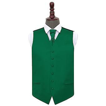 Smaragd grønn ren Satin bryllupet vest & Cravat sett
