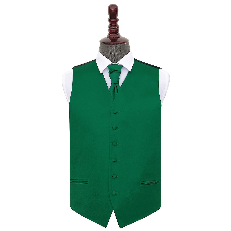 Emerald groen platte satijnen bruiloft gilet & Cravat Set
