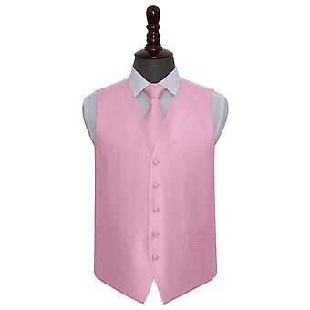 Leichte rosa solide Check Hochzeit Weste & Krawatte Set