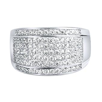 Sterling 925 Silver pave ring - ROUND ICE