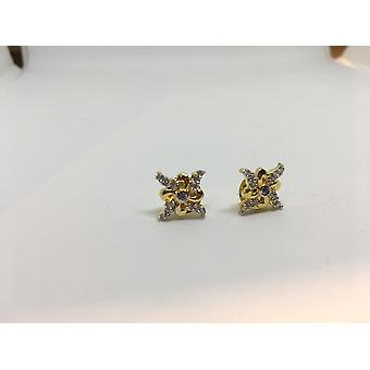 Gold Plated & Precious Gems Flower Stud Earrings